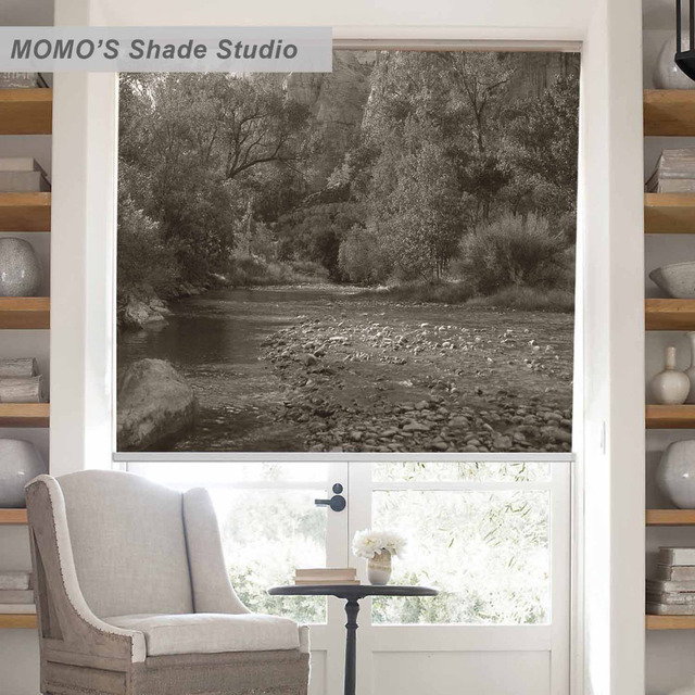 MOMO Blackout Window Curtains Roller Shades Blinds Thermal Insulated Fabric Custom Size Scenic PRB Set205