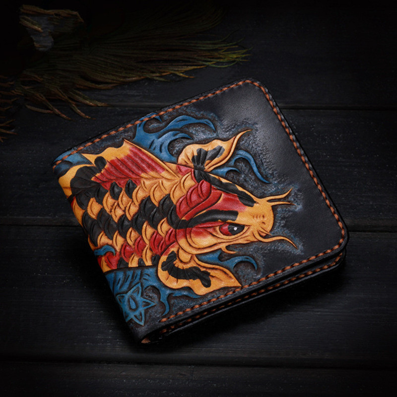 Short Cow Leather Hand Carved Carp Wallets Purses Women Men Clutch Vegetable Tanned Leather Wallet Card Holder New Year Gift classic led color changing waterfall spout bathroom tub sink faucet dual handle deck mounted basin washing taps