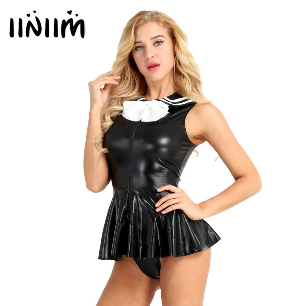 3Pcs Women Adults School Girl Costume Shining Faux Leather -7685