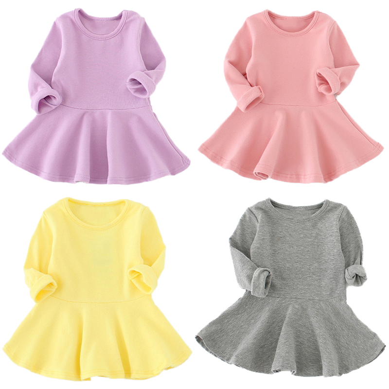 Spring Autumn Candy Color Cotton Baby Girl Dresses Long Sleeve Solid Princess Dress Bow-knot O-neck Casual Kids Pleated Dresses Платье