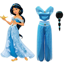 YOFEEL Aladdin's Lamp Jasmine Dress up Costumes for Girls Child Cosplay Arabian Indian Princess Costume Kids Belly Dance Dresses