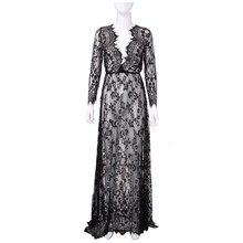 Robe de nuit en dentelle pour femmes, Sexy, nuisette transparente, lingerie, grande taille, longue, blanche, offre spéciale