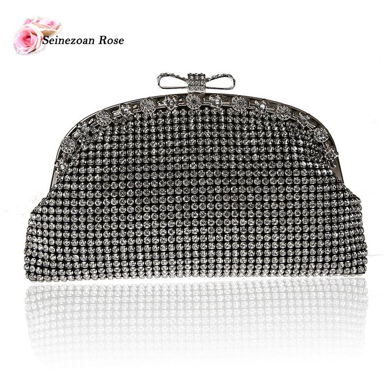 ФОТО 2016 Luxury Women Rhinestone Bow Small Handbags Evening Party Hobos Bags Ladies Designer Purses Crossbody Bags Black Silver Gold