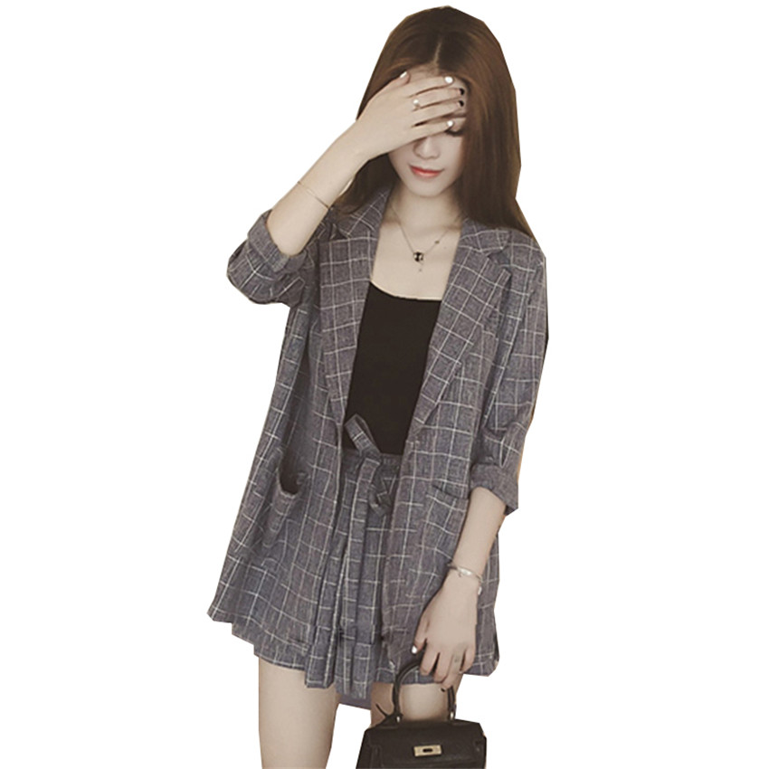 New Loose Lady Midi Long Blazers Summer Two Piece Big Size Women Linen Blazer +Shorts Formal Suits Thin Sun Protection Coat W428