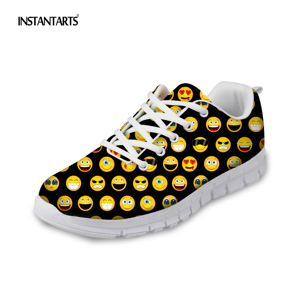 INSTANTARTS Casual Women's Flats Shoes Emoji Face Puzzle Pattern Ladies Lace-up Sneakers Female Lightweight Mess Fashion Flats instantarts casual women s flats shoes emoji face puzzle pattern ladies lace up sneakers female lightweight mess fashion flats