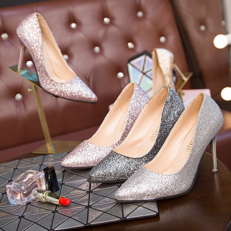 Women Wedding Shoes Silver Gold Dress Shoes Pointed Toe Thin Heels Woman Sequined Cloth High heels Glitter Pumps Boat Shoes 3