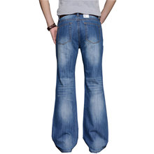 2017 Mens Big Flared Jeans Boot Cut Leg Flared Loose Fit excessive Waist Male Designer Classic Denim Jeans Pants Bell Bottom Jeans