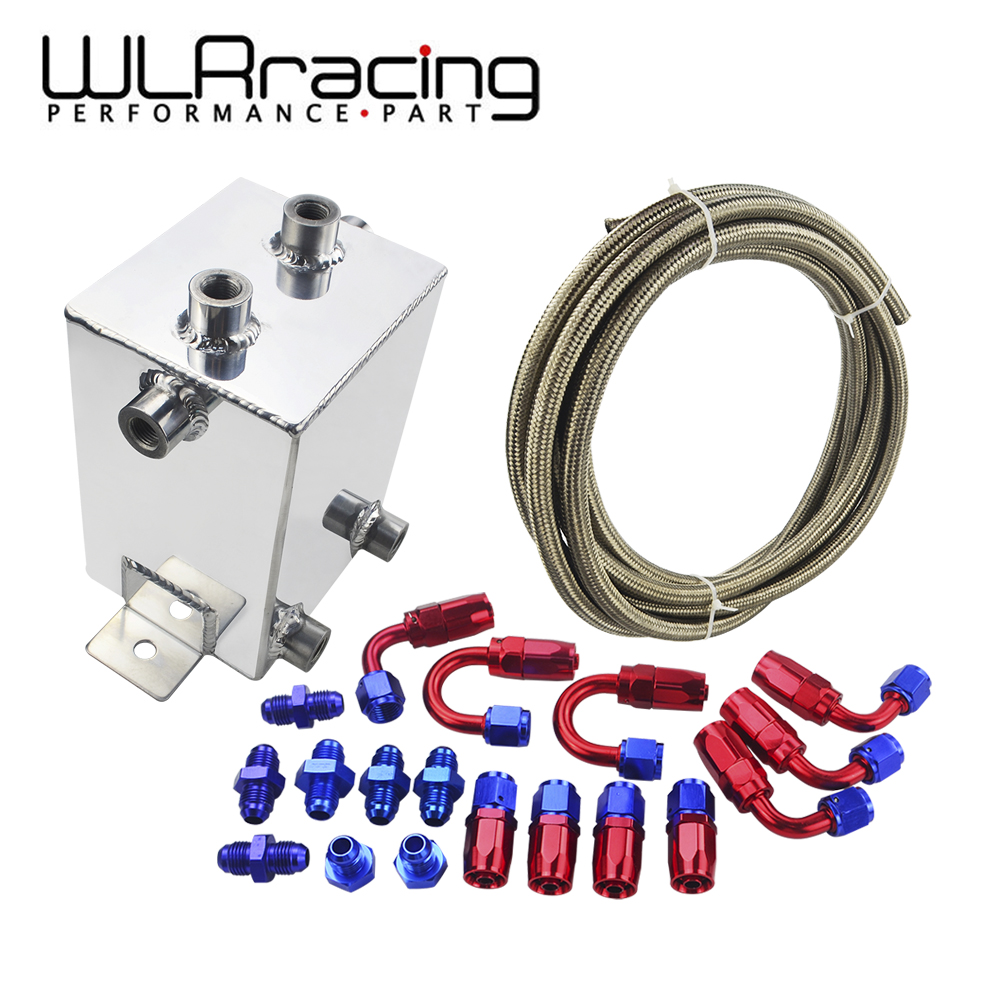 WLR RACING - 2 LITRE ALLOY POLISHED FUEL SURGE TANK KIT & AN6 HOSE & AN6 FITTINGS WLR-TK31-W 2l aluminium an6 fuel surge tank 2 litre swirl port 5m fuel oil line an6 hose end adapter system kit black and red