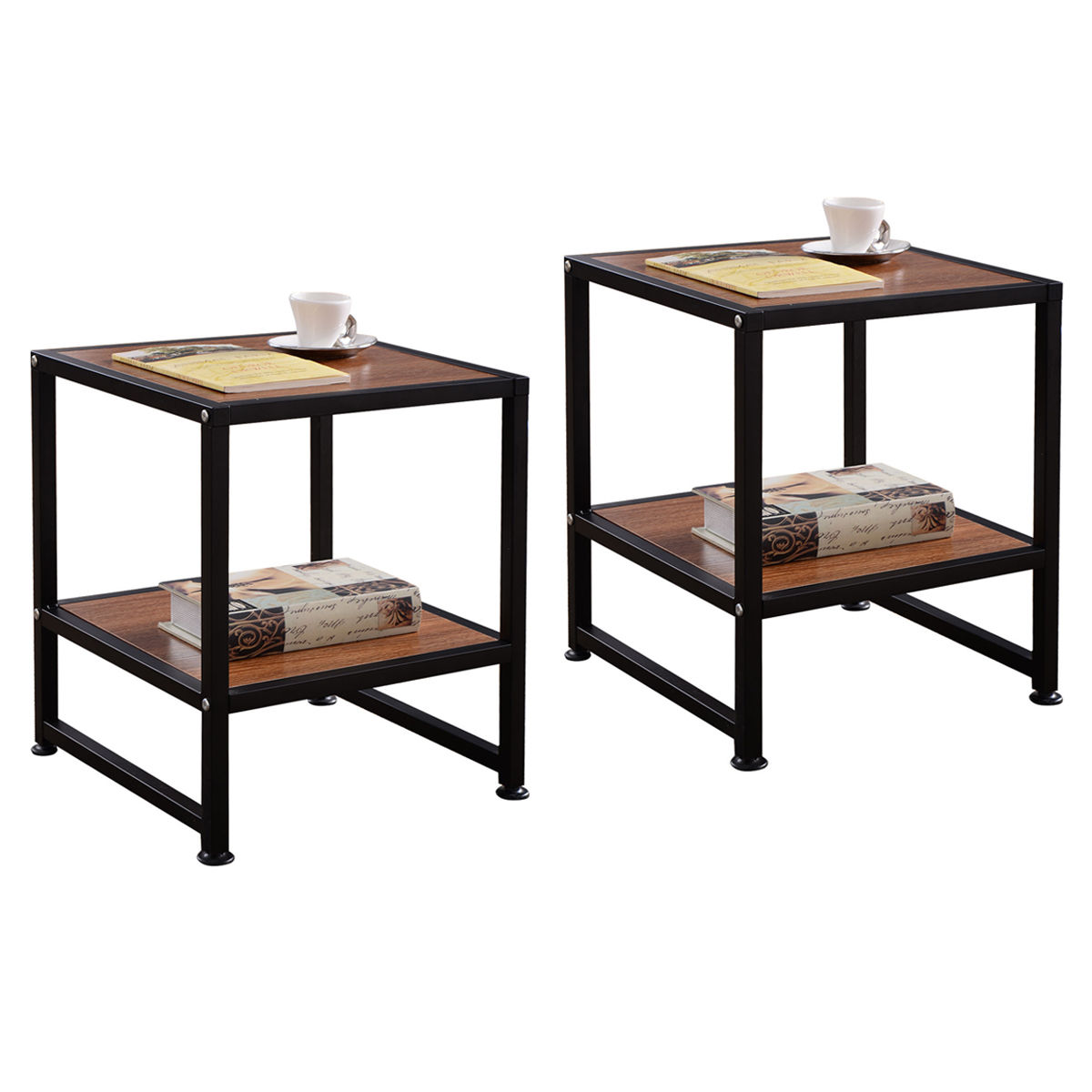Giantex 2PCS End Table Living Room Side Sofa Square Coffee Tea Stand with Bottom Shelf Modern Wood Coffee Tables HW54146