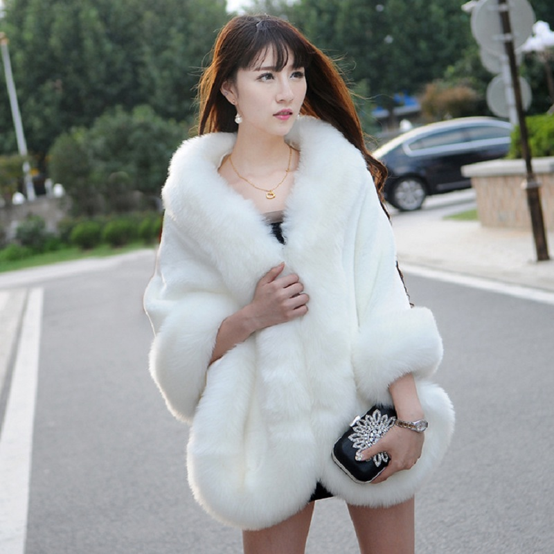 2017 NEW Design Fur Overcoat Imitation Rabbit Fur Faux Fox Collar Fashion Faux Fur Coat Mink Hair Rex Rabbit Hair Cape Jacket
