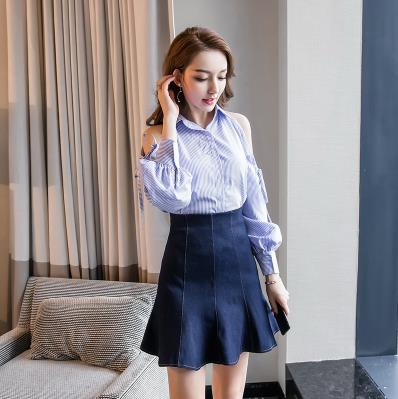 TUHAO 2018 Spring Women set Office Lady Work Wear Sexy Off Shoulder Striped Lantern Slee ...