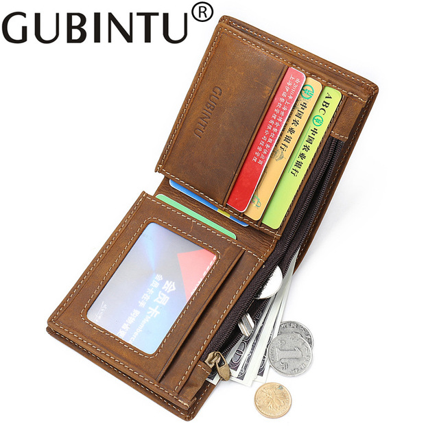 Genuine Leather Wallet Men Vintage Real Leather Mens Wallet With Zipped Coin Pocket High Quality Man Wallet Leather Purse