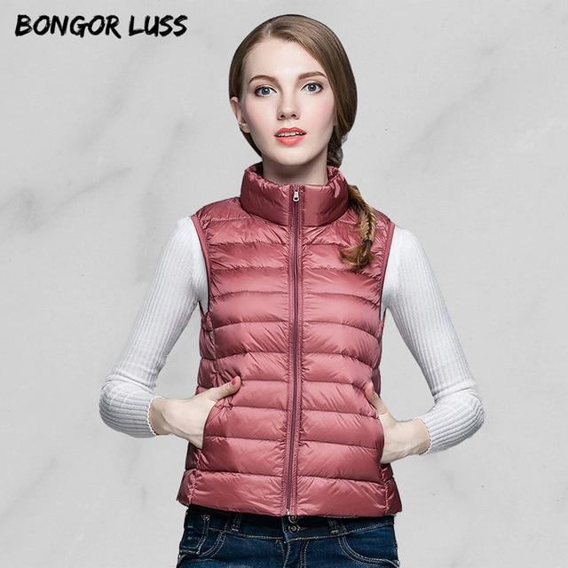 54dbf406808 US $21.84 37% OFF|BONGOR LUSS Autumn Ultra Light Warm Vest Women Winter  Puffer Jacket Portable Windproof Coat Women Vest Outerwear Plus Size-in  Vests ...