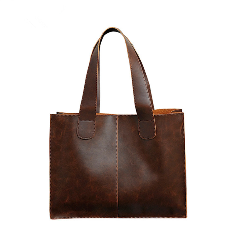 Vintage Men's Briefcase Crazy Horse PU Leather Handbag Business Computer Laptop Shoulder Bags Women Solid Large Male Tote Brown