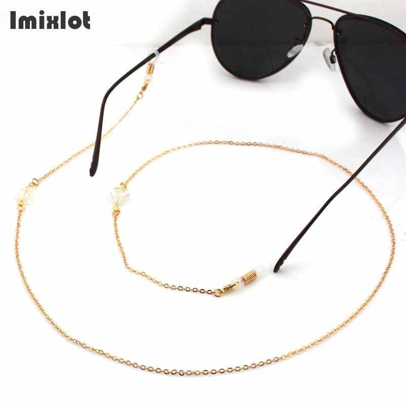 الأزياء الزجاج كريستال ليف سلاسل النظارات الشمسية القراءة مطرز سلسلة النظارة ييويرس الحبل حامل الرقبة حزام حبل