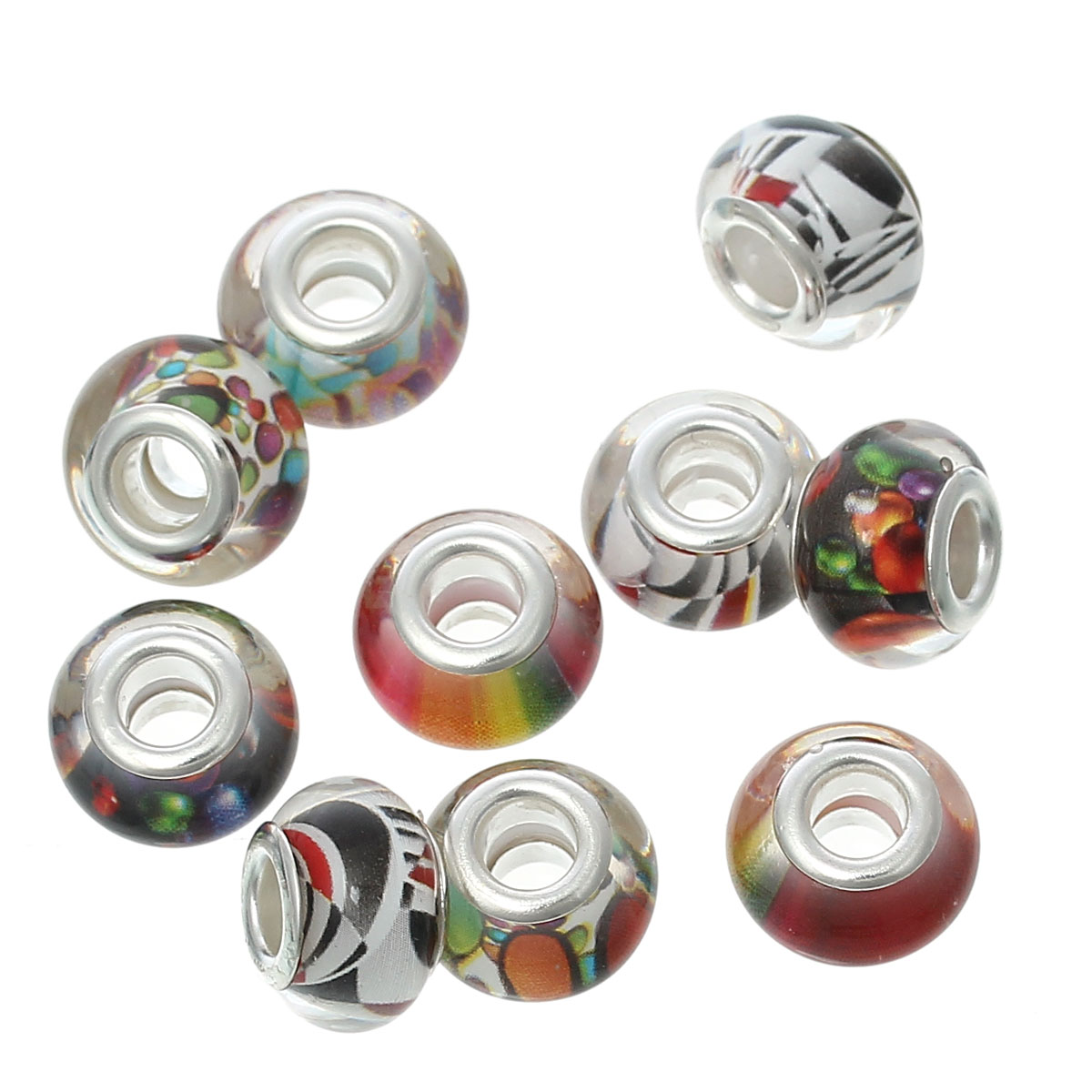 "DoreenBeads European Style Charm Beads Round Mixed Pattern About 14mm( <font><b>4</b></font>/8"") <font><b>x</b></font> 9mm( <font><b>3</b></font>/8""),Hole: Approx 5.1mm,<font><b>20</b></font> PCs 2015 new"