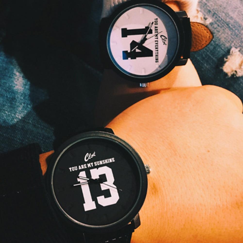 Fashion Lovers Couple Watches Women Men Ladies PU Leather Band Printed 13 14 Quartz Wrist Watch montre femme reloj hombre women dress watches fashion vintage men women watch feather dial leather band quartz analog unique wrist watches montre femme