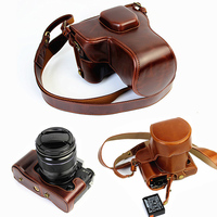 portable Camera Bag PU Leather Case For Fujifilm Fuji X T1 T1 XT 1 XT1 SLR cover pouch with Battery Bottom Opening