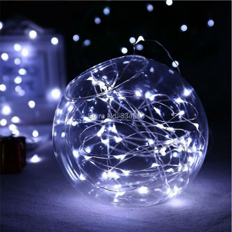 1/3/5pcs 3AA Battery Powered 10M/33FT 100LEDs Silver Wire LED String Lights, Outdoor Starry Lights 8 Modes Dimmable with Remote