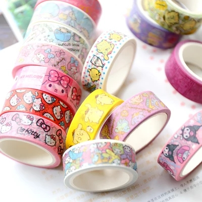 4 pcs/set Japanese Tape Sticker Kawaii Cartoon My Melody Hello Kitty Decorative Tapes Scrapbook Paper Masking Tape my fairies sticker storybook