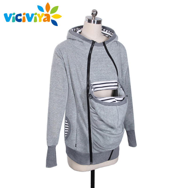 Women Sweatshirts font b Baby b font Carrier Wearing Hoodies Three Features Zipper Coat Kangaroo Hoodie