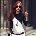Autumn women bottoming shirt spell color round neck Ms. cotton long-sleeved T-shirt Slim was thin coat tide do268