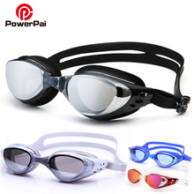 PowerPai Acetate Swimming Goggles Anti Fog Kid Swimming Glasses Men Women Silicone Belt Prescription Gafas Natacion Swim eyewear