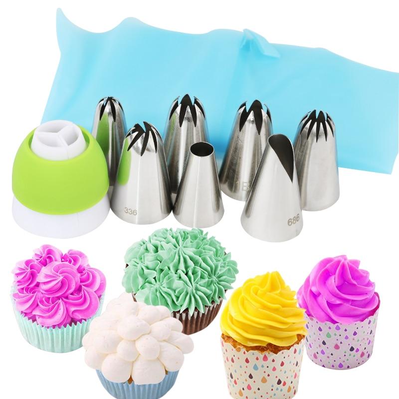 9 pcs set big size 2D 2A 1E 336 1B 1C 686 cake piping tips russian flower nozzles +sliocne pastry bag +coupler