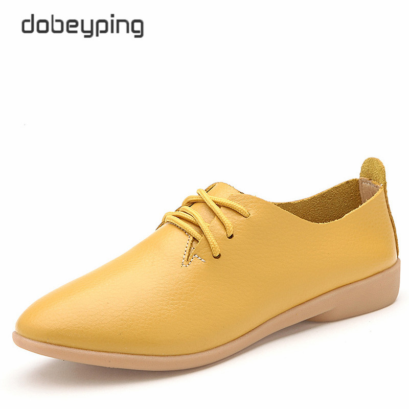 Casual Ballet Shoes Women 100% Genuine Leather Women's Loafers Lace-Up Woman Flats Shoe Flexible Peas Footwear Big Size 35-44