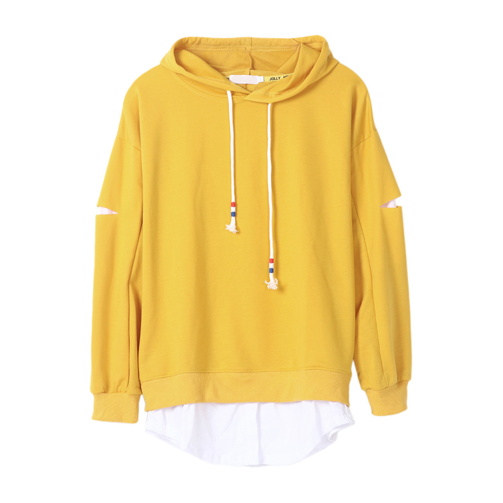 Casual Women Hoodies Harajuku 2018 Winter Fall Sweatshirts Solid Yellow Patchwork Pullov ...