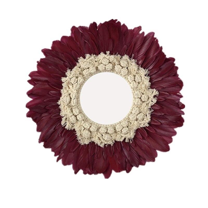 Nordique rond fait main tapisserie plume verre miroir rond mur décoratif miroir Art R1629