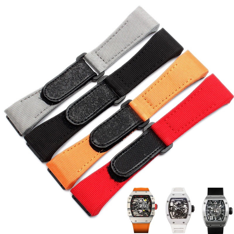 27MM Nylon Canvas Stitching Genuine Leather Watchband For Man richard MILLE Watch Belt Strap Accessory Bracelet Wrist Sport часы watch styles richard mille