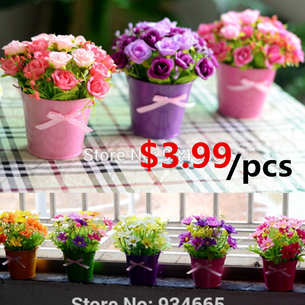 Buy 1set Artificial Flower Set Mini Cute Iron Vase Silk Flowers Artificial