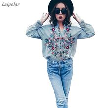 Women Floral Embroidered Casual Blouse Autumn Long Sleeve Striped Shirt Tops 2018 Fashion Laipelar