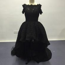 Vestido De Festa longo Black Lace Abendkleider Echt Bilder Kurzarm High low Abendkleider