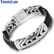 TrustyLan Hot Brand Mens Bracelets Black Leather & Stainless Steel Wrap Bracelet Men Jewelry Gifts For Him Pulseras Hombre