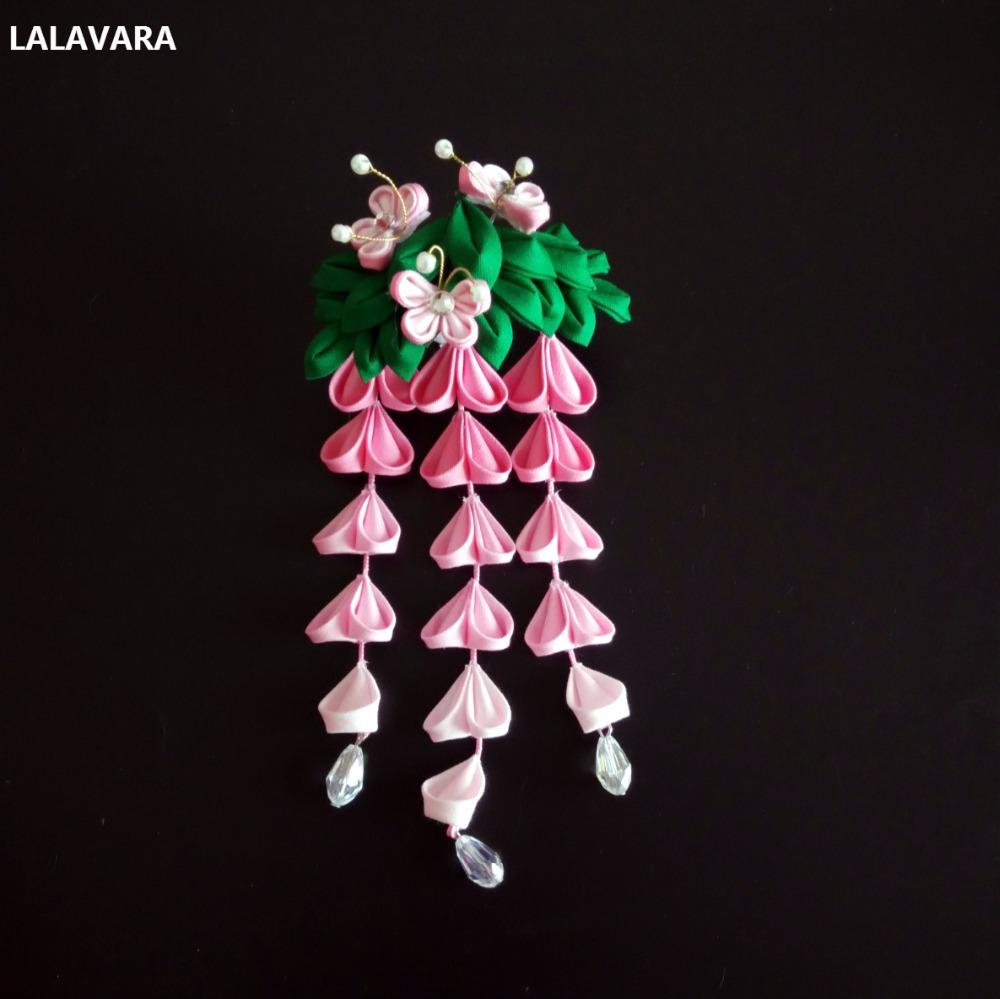 LALAVARA 5pcs handmade Hair Kanzashi flowers wisteria hair clips girls kimono bridal hair accessories