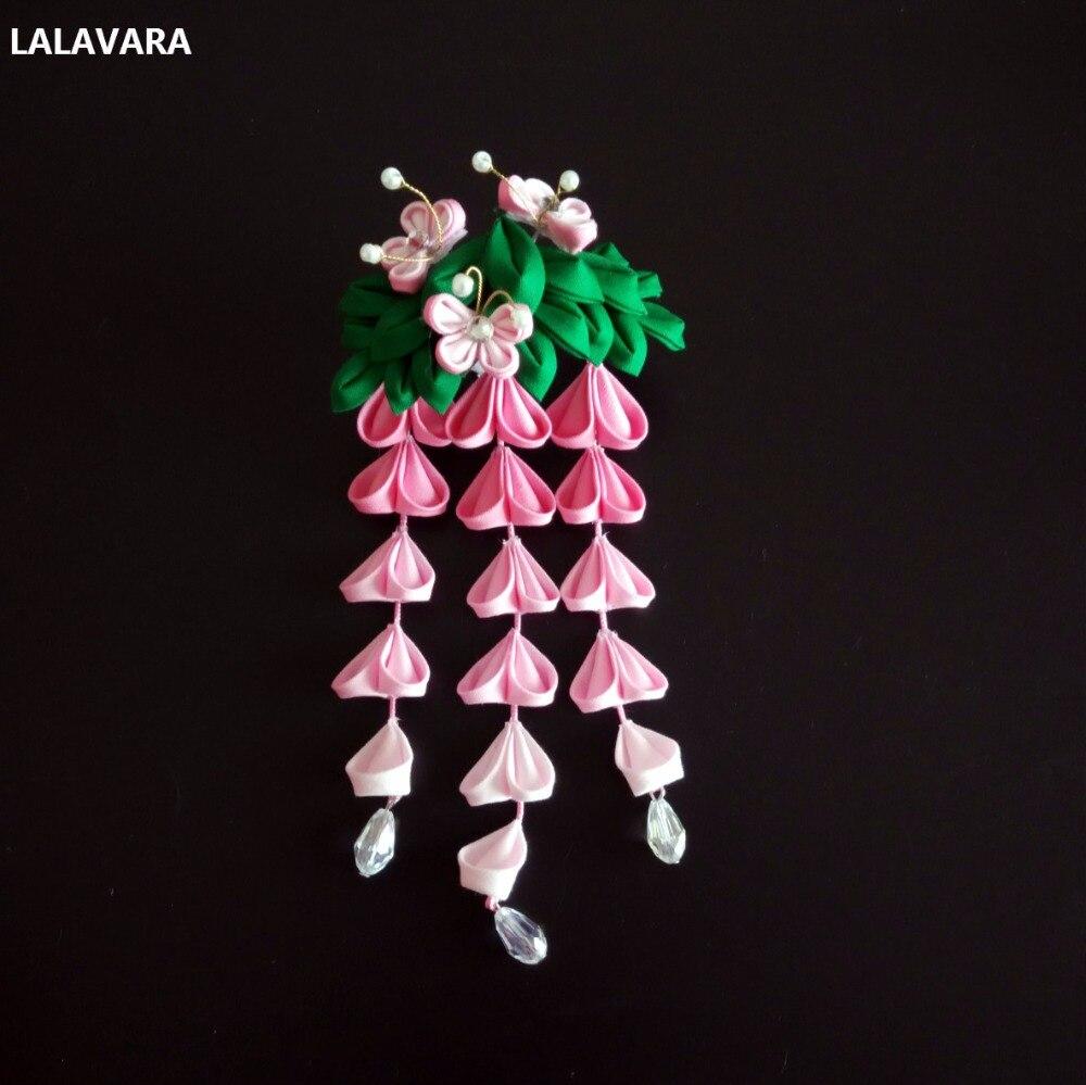 Lalavara 5pcs 수제 머리 kanzashi 꽃 등나무 헤어 클립 소녀 기모노 신부 헤어 액세서리-에서헤어 주얼리부터 쥬얼리 및 액세서리 의  그룹 1