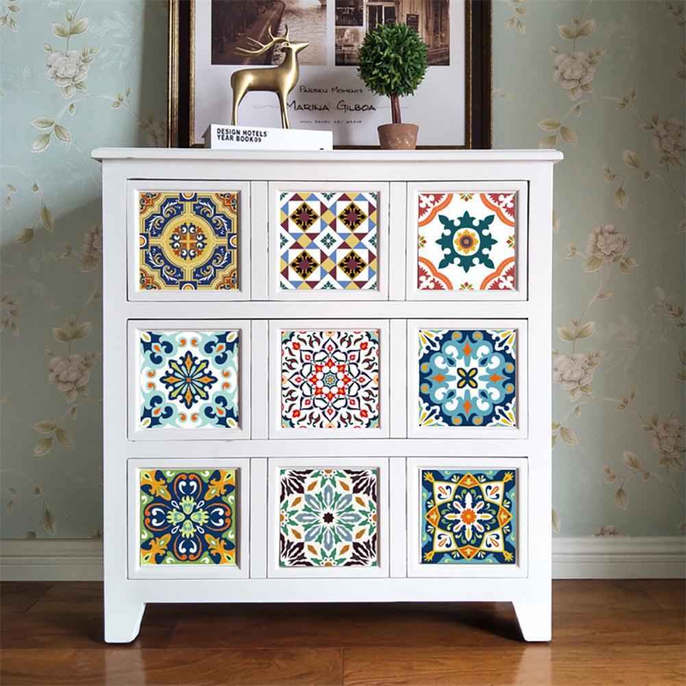 10 Stücke 15*15 Cm/20*20 Cm Marokkanischen Fliesen PVC Wasserdicht  Self Adhesive Wallpaper Möbel Bad DIY Arabisch Fliesen Aufkleber