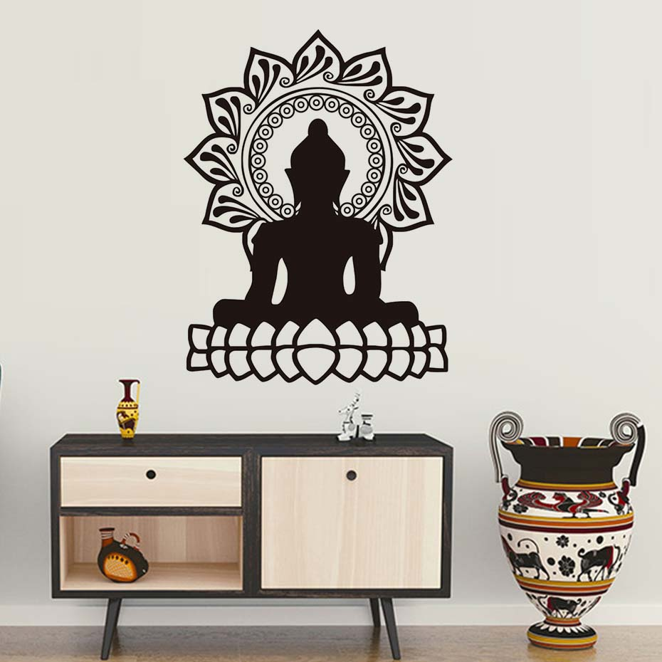 Indian design lotus flower wall stickers home decor buddha indian design lotus flower wall stickers home decor buddha silhouette wall decals livingroom vinyl art removable wallpaper in wall stickers from home amipublicfo Image collections