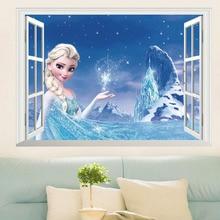 3D elsa princess wall sticker home decor removable fake window fairy kids room nursery wall decal window elk landscape printed removable wall decal