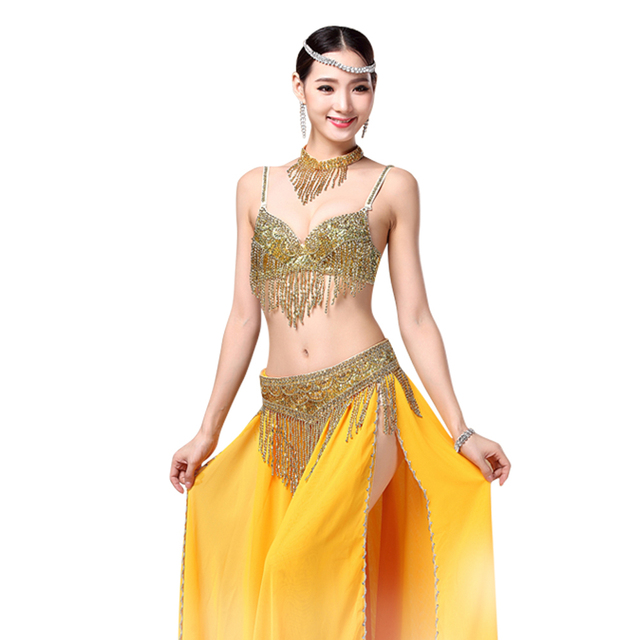 2018 Women Bellydance Clothes Eastern Style Beaded Top and Belt 2pcs Set Costumes for Belly Dance Bra Costume with Necklace 1