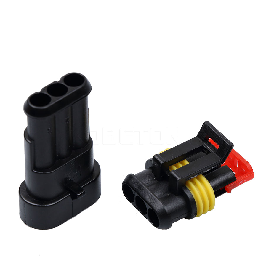 Sikeo 1 Sets Diy Car Auto 3 Pin Way Sealed Waterproof Electrical Wiring Wire Connector Plug Set For Motorcycle Hid Led Light Lamp In Battery Cables