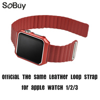 So buy for apple watch 1/2/3 sport S1 S2 series strap iwatch blet 38mm band wrist leather loop bracelet magnetic 42mm watchband