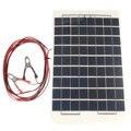 12 v 10 w policristalino panel de células solares de resina epoxi transparente diy conjunto con el bloque de diodo módulo + 2 piel de cocodrilo clips + 4 m cable de profesional