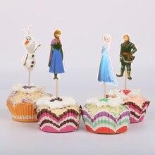 24 шт Аиша Анна Рапунцель кекс топперы вечерние украшения кекс Дети День рождения предметы для вечеринки, сувениры