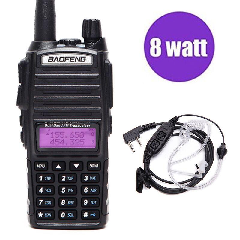 BAOFENG UV-82 Plus Walkie Talkie VHF/UHF Dual Band Lange Palette 8 watt Amateur Zwei Weg CB Radio UV82 für Wandern + Air Acoustic Headset