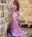 2017 Musulmanes Vestidos de Noche Sirena Mangas Largas de Color Rosa Apliques de Encaje Islámico de Dubai Abaya Caftán Largo Vestido de Noche Vestido de Fiesta