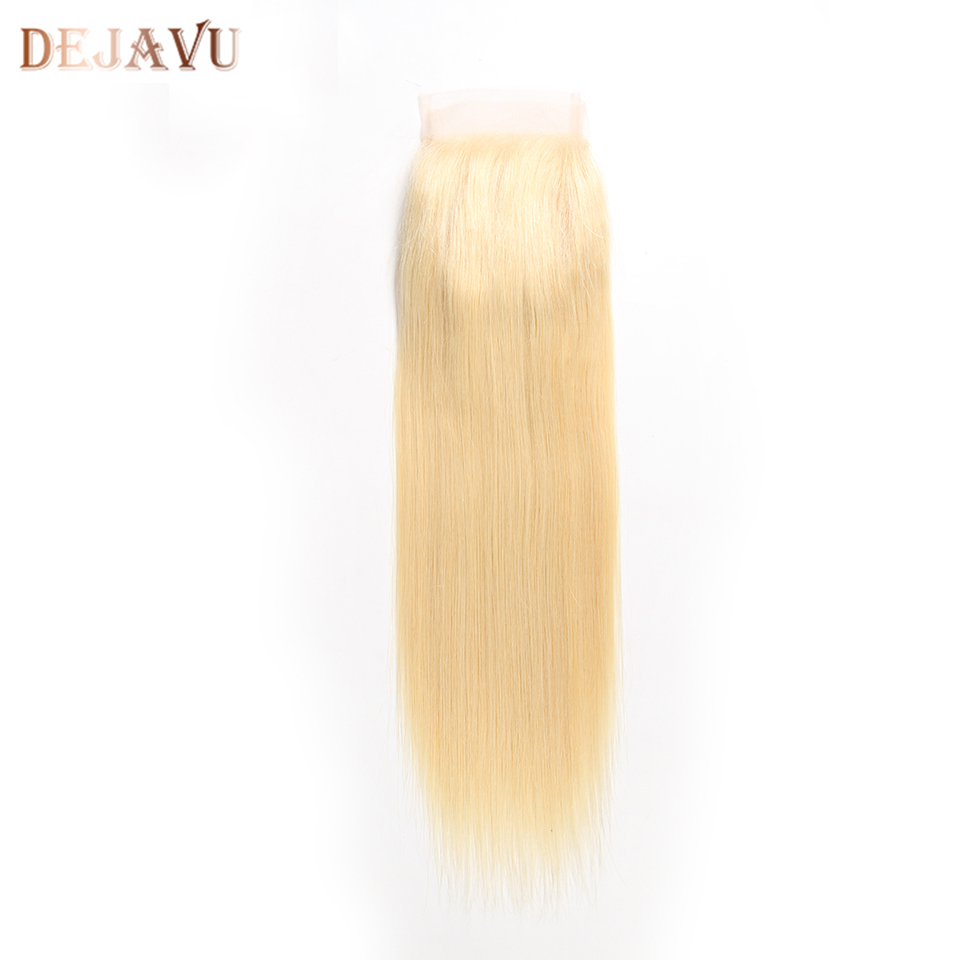 Dejavu 613 Straight 4*4 Lace Closure Peruvian Human Hair Closure Middle/Free Part Remy With Baby Hair Extension 10-30 Inch image