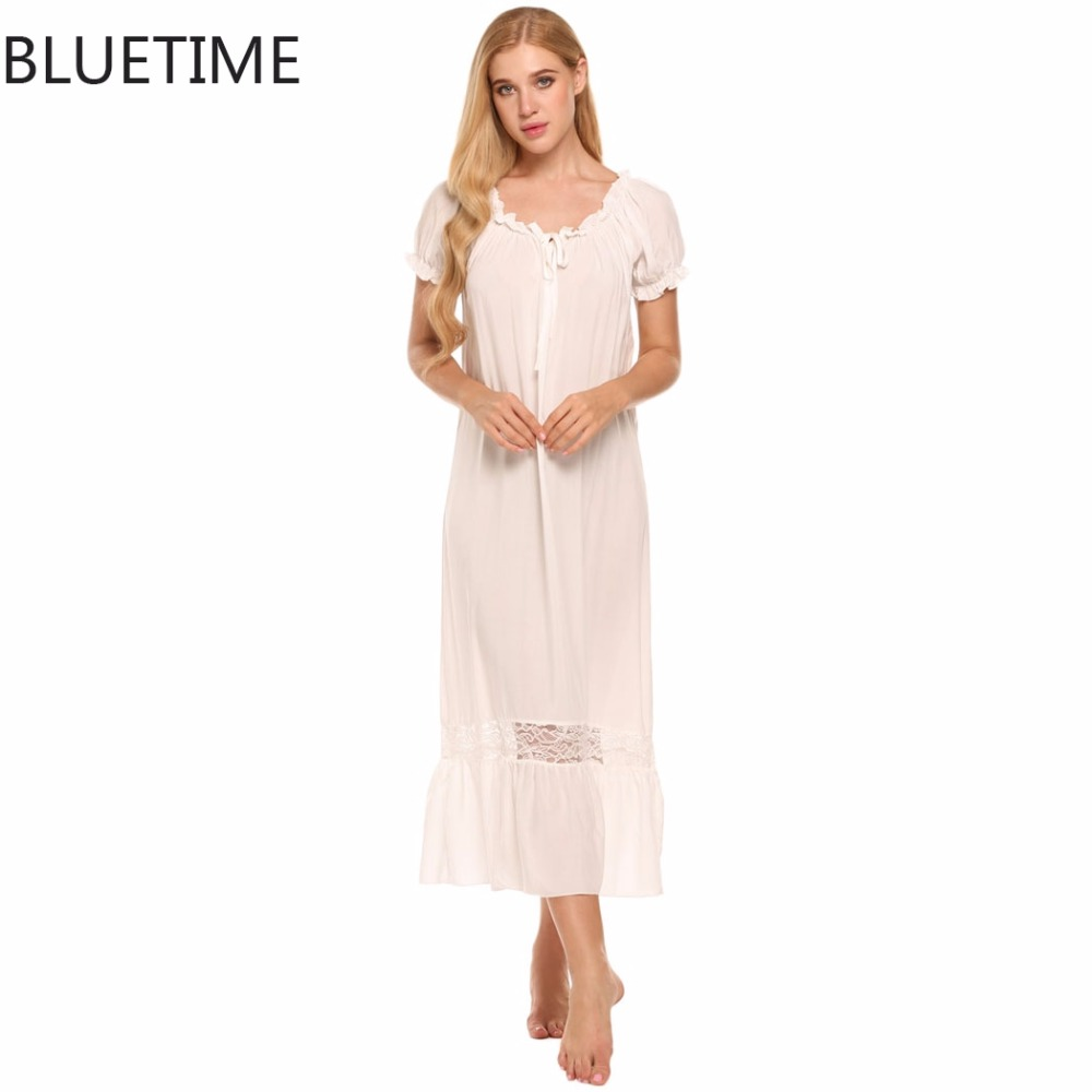 Lady Large Size Loose Nightgowns Vintage Off Shoulder Lace Ruffle Elegant Nightdress Lounge Sleepwear Long Home Night Dress XXL